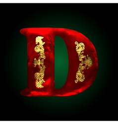 Velvet d letter with gold vector