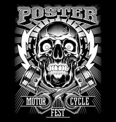 Vintage biker skull vector