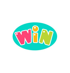 win congratulations sticker with bubble design vector image