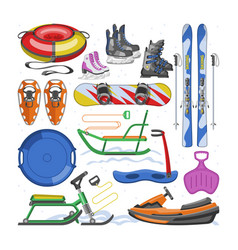 winter sports equipment extreme snowboard vector image