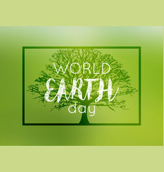 World environment day card poster on blur green vector