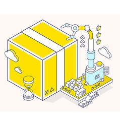 Yellow box hourglass and three dimensio vector