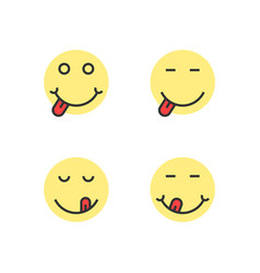 Yellow thin line yummy emoji faces vector