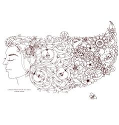 Zen Tangle girl woman with vector