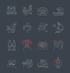 cancer gastrointestinal tract icons vector image vector image