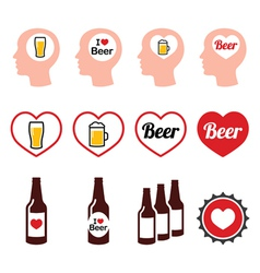 Man loving beer icons set vector image