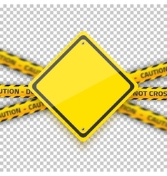 Road Yellow Sign with Yellow Police Strip vector image vector image