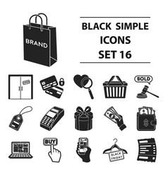 e-commerce set icons in black style big vector image