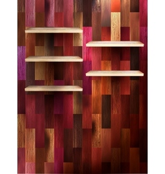 Empty shelf for exhibit on color wood EPS 10 vector image