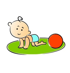 Little baby crawling on hands and knees vector image vector image