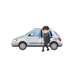 professional car thief character stealing and vector image vector image