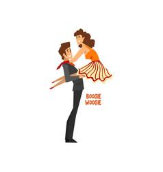 professional dancer couple dancing boogie woogie vector image vector image