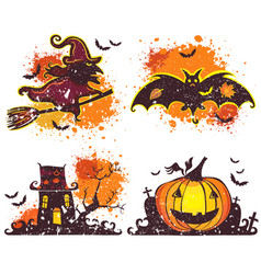halloween icons set design elements for a vector image vector image