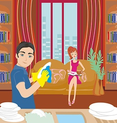 Husband washing dishes vector image
