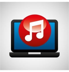 laptop icon music social media vector image