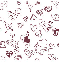 seamless pattern background with abstract hearts vector image
