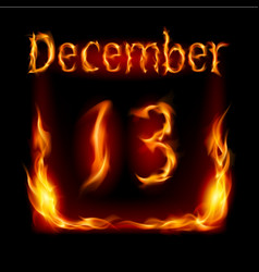 thirteenth december in calendar of fire icon on vector image vector image
