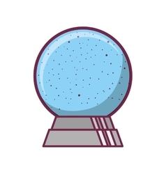 crystal ball in base with snow falling vector image vector image