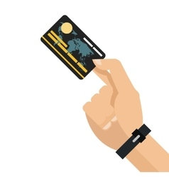 Hand holding credit or debit card icon vector
