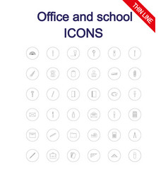 office and school supplies icons set vector image vector image
