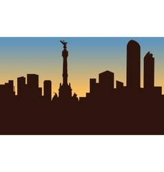 silhouette of mexico city and monument vector image