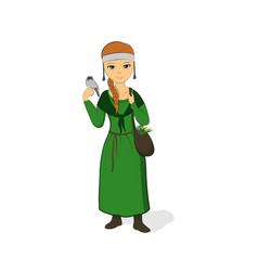 the girl is a healer in a green dress vector image