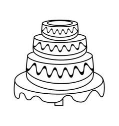 wedding cake dessert outline vector image vector image