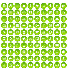 100 basketball icons set green circle vector