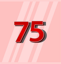 75 years anniversary red elegant number template vector