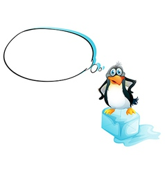 A penguin standing above an icecube vector image