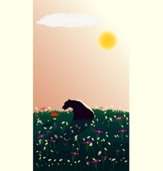 A pensive bear sits on lawn with red mushroom vector