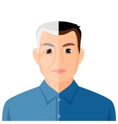 Aging concept portrait showing process of vector