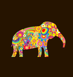 Applique with decorative elephant with colorful vector