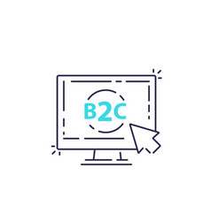 B2c business to consumer concept line vector