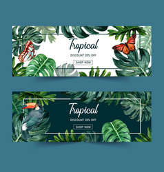 Banner design with classic tropical theme vector