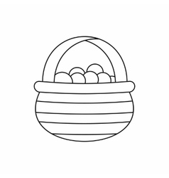 Basket with cranberries icon outline style vector