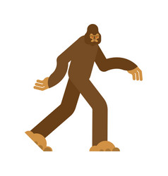 Bigfoot isolated yeti brown abominable snowman vector