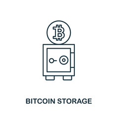 bitcoin storage outline icon monochrome style vector image