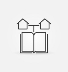 book and houses outline icon homeschooling vector image