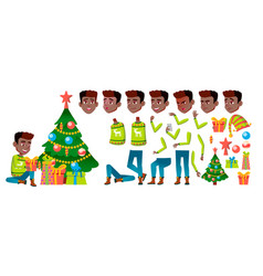 boy black afro american christmas child vector image