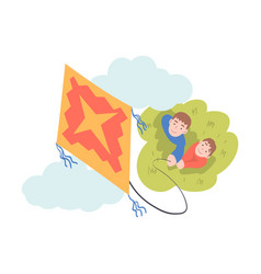 Boys playing kite view from above friends vector