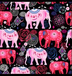 Bright pattern beautiful elephants vector