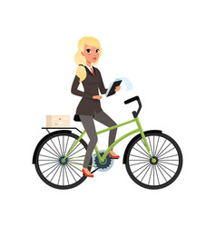 Business woman sitting on bicycle and holding vector