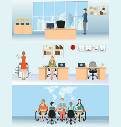 Businessman and woman in interior office building vector