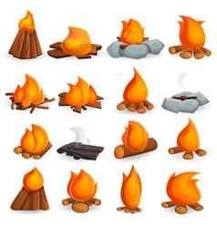 Campfire icon set cartoon style vector
