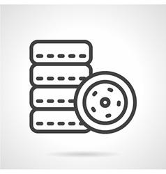 Car tires simple line icon vector