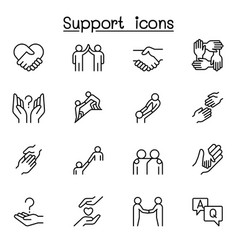 care support and sympathize icon set in thin line vector image