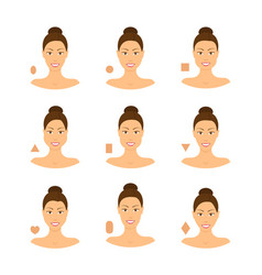 cartoon face type contouring tutorial icon set vector image
