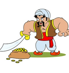 Cartoon illustration a janissary warrior vector
