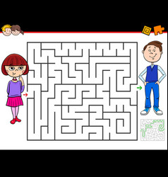 cartoon maze game with girl and boy vector image